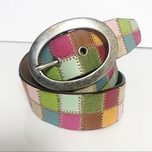 Fossil Patchwork Suede and Leather Colorful Belt M